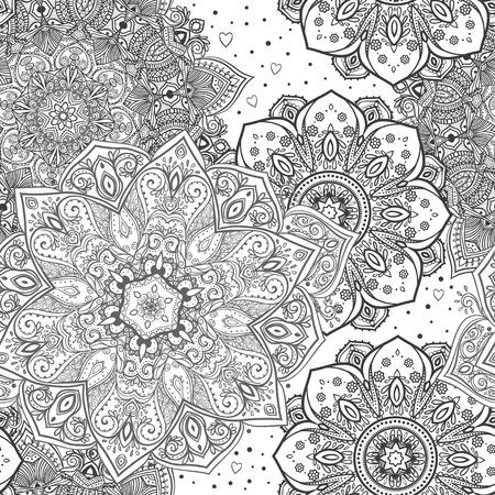 Ornament beautiful pattern with mandala. Geometric circle element made in vector. Illustration for design pattern textiles Hand drawn map mandalas Perfect cards. Kaleidoscope,yoga, india, arabic
