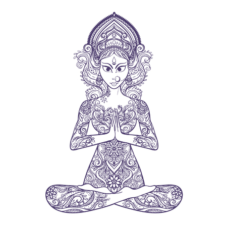 karma: Ornament beautiful card with Vector yoga. Geometric element hand drawn. Balance karma. Design element for a yoga class or for a web site. Medallion, yoga, india, arabic,  harmony