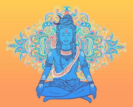 mediation: Ornament beautiful card with God Shiva. Illustration of Happy Maha Shivaratri. Mahashivaratri festival. Hinduism in India. Mediation, ornament illustration Illustration