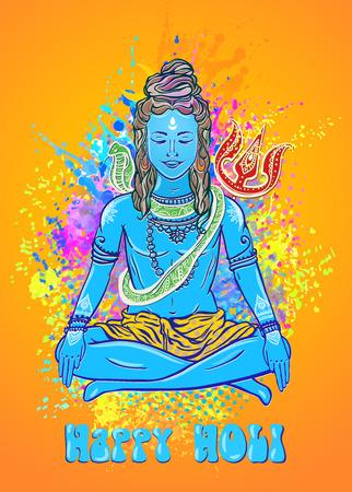 hinduism: Holi a spring festival, of colour or sharing love Ornament beautiful card with God Shiva. Illustration of Happy Maha Shivaratri Mahashivaratri festival Hinduism in India Shiva the cosmic consciousness Illustration