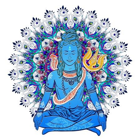 Ornament beautiful card with God Shiva. Illustration of Happy Maha Shivaratri. Mahashivaratri festival. Hinduism in India. Mediation
