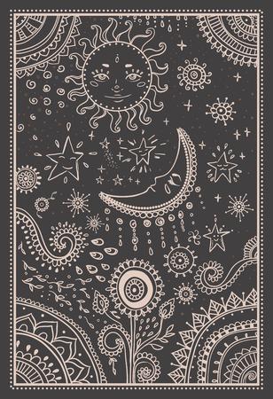 Illustratie van de zon en de maan, de sterren. Sier mandala.