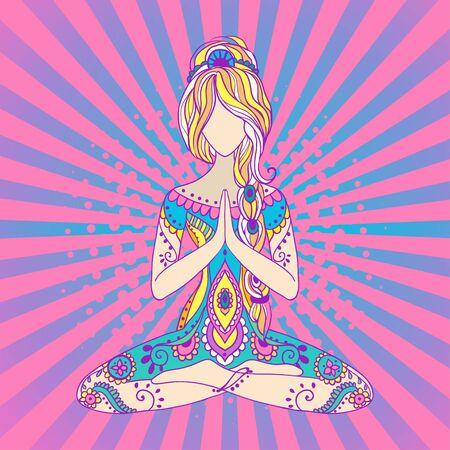 armonia: Ornamento tarjeta hermosa con el yoga vector. dibujado a mano geométrica elemento. karma yoga equilibrio medallón india armonía árabe prácticas espirituales, mentales y físicos en las áreas del hinduismo y el budismo