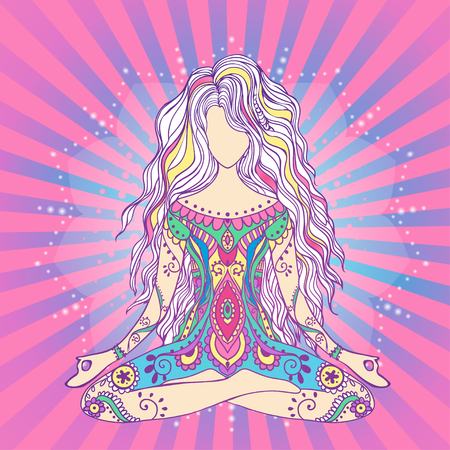 karma: Ornament beautiful card with Vector yoga. Geometric element hand drawn. Balance karma medallion yoga india arabic harmony spiritual, mental and physical practices in the areas of Hinduism and Buddhism