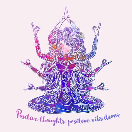 meditation man: Ornament beautiful card with Vector yoga pose. Element hand drawn. Balance karma medallion yoga india arabic harmony spiritual, mental and physical practices in the areas of Hinduism and Buddhism
