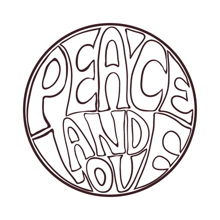 Hippie style. Ornamental vintage background. Love and Music with hand-written fonts, hand-drawn doodle background and textures. vector illustration. Woodstock Music and Art Fair. We love hitchhiking Vektorové ilustrace