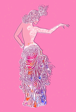 bailarinas arabes: Ornamento tarjeta hermosa con la danza del vientre chica. dibujado mehndi elemento de la mano. La danza oriental, el yoga, la india, países árabe técnica de la danza occidental en Oriente Medio y árabes, baile Oryantal turca Vectores