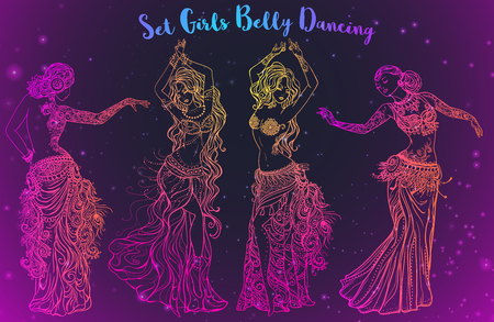 belly dancer: Ornament beautiful card with girl belly dance. Mehndi element hand drawn. Oriental dance, yoga, india, arabic Western dance technique Middle East and Arab countries, Turkish Oryantal danser