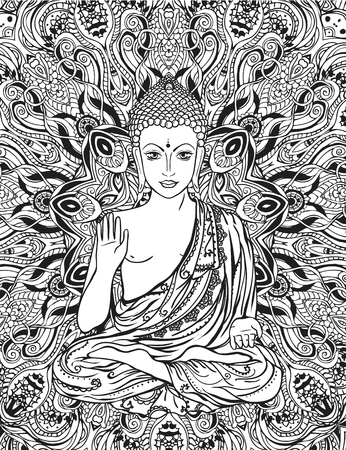 Ornament beautiful card with Buddha. Geometric element hand drawn. Medallion, yoga, india, arabic, lotus Buddha, was a sage on whose teachings Buddhism was founded. awakened one or the enlightened one Ilustrace