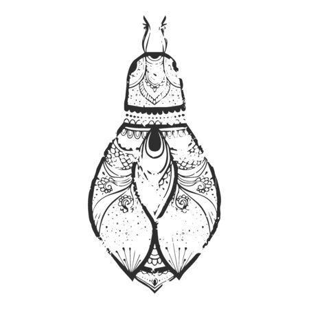blood sucker: Greeting card with bug. Ornamental of Insect made in vector. Beetle ornamental. Element for design.  Hand drawn map with  bug ornamental.