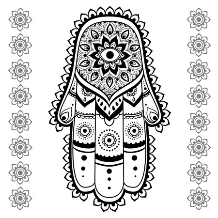 kabbalah: Ornament card with hamsa. Geometric circle element made in vector. Talisman ornamental hamsa, symbol Eye protection. Kaleidoscope,  medallion, yoga, india, arabic