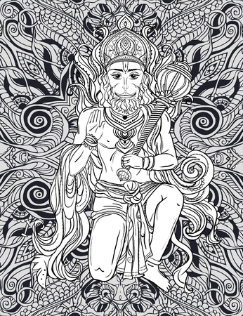 rama: Card with of Lord Hanuman Illustration of Happy Dussehra simian god the son of the wind god Vayu and Pundzhistaly One of the main characters of the Ramayana in Saivism one of the avatars of Shiva