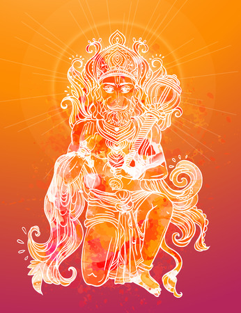 popular belief: Card with of Lord Hanuman Illustration of Happy Dussehra simian god the son of the wind god Vayu and Apsaras in Saivism one of the avatars of Shiva. Use for print textiles website