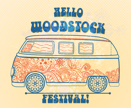 Hippie style. Ornamental vintage background. Love and Music with hand written fonts, hand-drawn doodle background and textures. vector illustration. Woodstock Music and Art Fair. We love hitchhiking