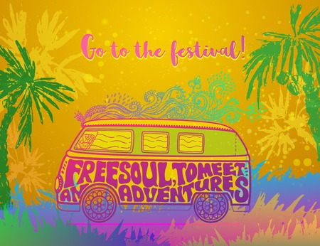 60s: Hippie vintage car a minivan Ornate background Love and Music with hand-written fonts hand-drawn doodle background and textures Hippy color vector illustration Retro 1960s 60s, 70s Woodstock festival