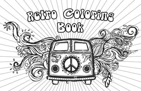 fonts music: Hippie vintage car a minivan Ornate background Love and Music with hand-written fonts hand-drawn doodle background and textures Hippy color vector illustration Retro 1960s 60s, 70s Woodstock festival