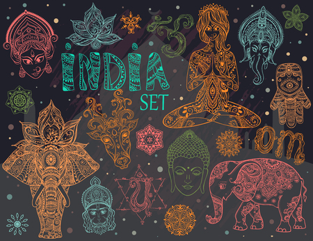 navratri: Big set with elements of Indian culture. Gods Ganesha, Navratri, Hanuman. Lord Buddha. Lotus, chakras, yoga posses. Ornamental elephant and mandalas. Hamsa for luck. Medallion, yoga, india, arabic Illustration