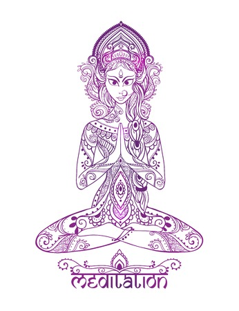 parvati: Ornament beautiful card with Vector yoga. Geometric element hand drawn. Balance karma medallion yoga india arabic harmony physical exercise for web sites banners, business cards clothing Illustration