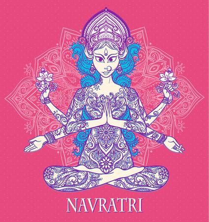 navratri: Ornament card with of Maa Durga. Illustration of Happy Navratri and Happy Diwali. Happy Maha Shivaratr. Yoga meditation pose Balance, strength, love, prosperity