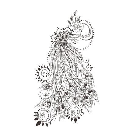 Tarjeta de felicitación hermosa con el pavo real pavo real hecho en vector del pájaro de color para el diseño de textiles, prendas de vestir, camisetas, papel pintado, impresión, engomadas de la pared, impresión de la mano sin fisuras mapa dibujado con el pavo real