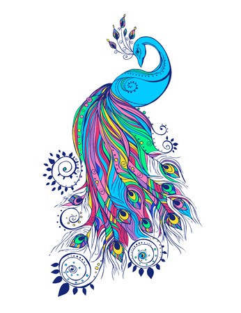 Bunte Mode-Karte mit Pfau Farbe Vogel für die Gestaltung von Textilien, Bekleidung, T-Shirts, Tapete, Druck, Wandaufkleber. Dekoration Muster. Stilvolle Hand gezeichnete Karte mit Pfau Paisley orientalisch Illustration