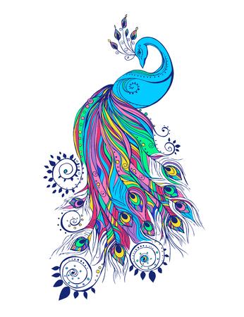 Kleurrijke mode-kaart met pauw kleur vogel voor het ontwerpen van textiel, kleding, T-shirts, behang, print, muurstickers. Decoratie patroon. Stijlvolle hand getrokken kaart met pauw paisley oosterse