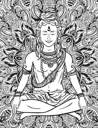hinduism: Ornament beautiful card with God Shiva. Illustration of Happy Maha Shivaratri. Mahashivaratri festival. Hinduism in India. Mediation, ornament illustration Illustration