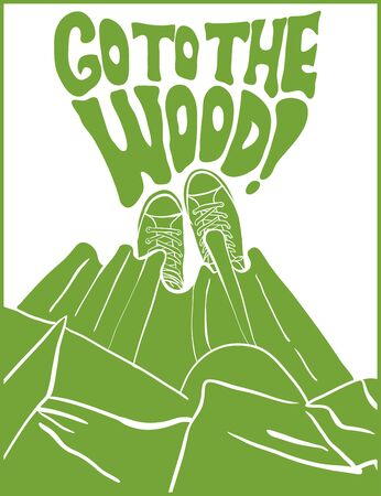 Card vector sneakers and dress painted. The poster in the 60s-70s style calls for a time outside and go to the forest. Illustration of shoe can be used for prints of clothing textiles and other design