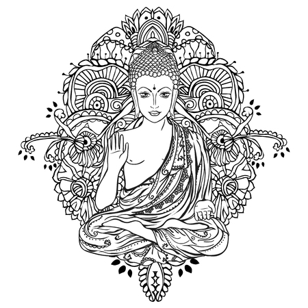 Ornament beautiful card with Buddha. Geometric element hand drawn. Medallion, yoga, india, arabic, lotus Buddha, was a sage on whose teachings Buddhism was founded. awakened one or the enlightened one Illustration