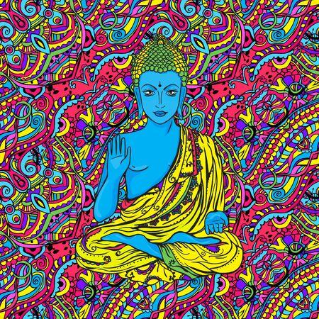awakened: Ornament beautiful card with Buddha. Geometric element hand drawn. Medallion, yoga, india, arabic, lotus Buddha, was a sage on whose teachings Buddhism was founded. awakened one or the enlightened one Illustration