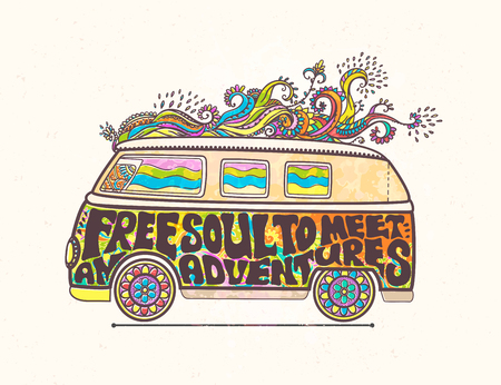 volkswagen: Hippie style. Ornamental retro background Love and Music with hand-written fonts hand-drawn doodle background and textures Hippy color vector illustration. Retro 1960s, 60s, 70s. We love hitchhiking!