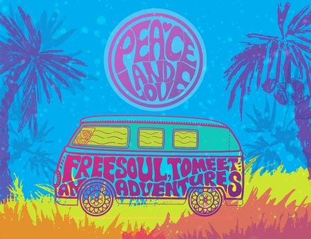 Hippie vintage car una mini van. Fondo ornamental Amor y música con fuentes escritas a mano, fondo de doodle dibujado a mano y texturas. Ilustración de vector de color hippy. Retro 1960, 60, 70