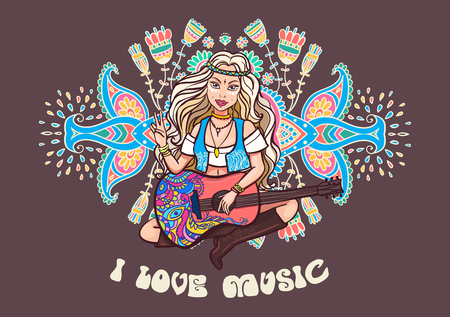 60s: Hippie girl. Ornamental background. Love and Music with hand-written fonts, hand-drawn doodle background and textures. Hippy color vector illustration. Retro 1960s, 60s, 70s