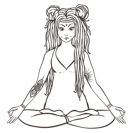 hayfield: Hippie girl with dreadlocks Hippie style Yoga poses Love and Music with hand-written fonts, hand-drawn doodle background and textures. Hippy color vector illustration. Retro 1960s, 60s, 70s