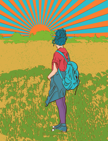 blonde teenage girl: hippie girl with a backpack, bohemian girl, boho style. Illustration for print, clothing design, and web sites. Hippy or hippie philosophy and subculture movement heyday came in the late Illustration