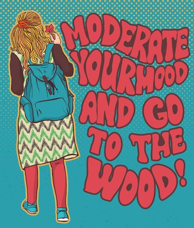 fille Hippie dans les bois, fille bohème, style boho. Illustration pour l'impression, la conception de vêtements, et les sites Web. Hippy ou hippie philosophie et subculture mouvement apogée est venu à la fin des années 1960 -1970s