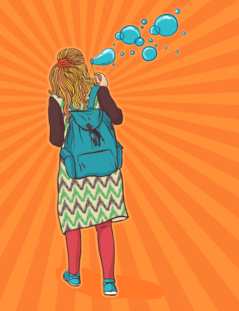 subculture: hippie girl with a backpack, bohemian girl, boho style. Illustration for print, clothing design, and web sites. Hippy or hippie philosophy and subculture movement heyday came in the late 1960s -1970s