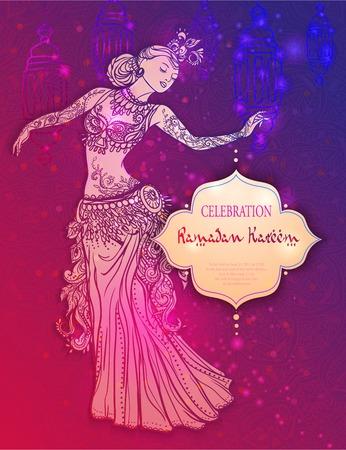 belly dance: Ramadan Kareem Lantern Greeting vector illustration. Ornament beautiful card with girl belly dance. Vector element hand drawn. Card, poster Illustration