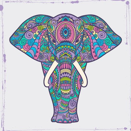 vector ornaments: Greeting Beautiful card with Elephant Frame of animal made in vector Elephant Illustration for design pattern textiles Hand drawn map with Elephant Bright print on t-shirt cup canvas and other object.
