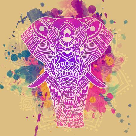 象繊維手象明るいと描画地図 T シャツに印刷、別オブジェクトのキャンバスをカップの動物象ベクトル イラスト デザイン テンプレートのフレーム