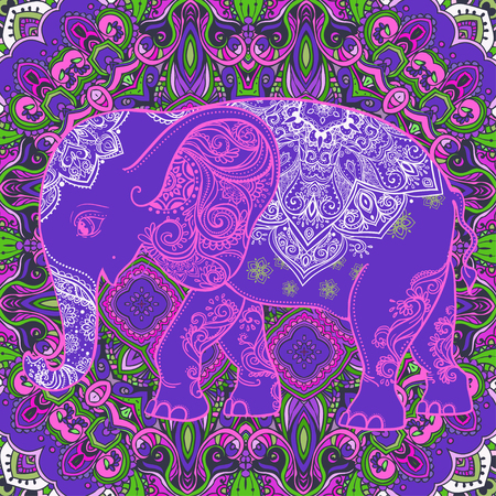 children s: Cute pattern with Elephant. Frame of animal made in vector. Elephant Illustration for design, pattern, textiles. Hand drawn map with Elephant. Use for children s clothes, pajamas, web sites