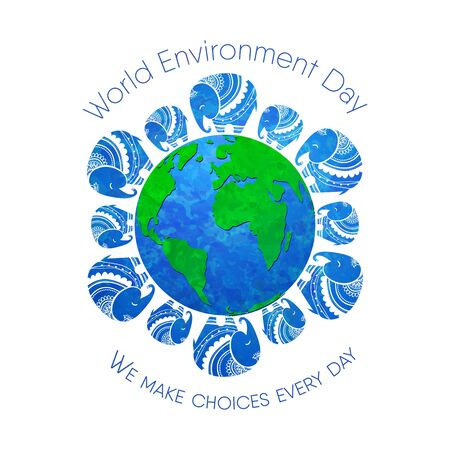 green day baby blue background: World environment day. Concept design for banner,  print, poster, greeting card. Vector illustration. Elephant Protection Day. Save, Protect the planet African elephants, the elephants of India.
