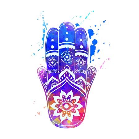 talisman: Ornament card with hamsa. Geometric circle element made in vector. Talisman ornamental hamsa, symbol Eye protection. Kaleidoscope,  medallion, yoga, india, arabic