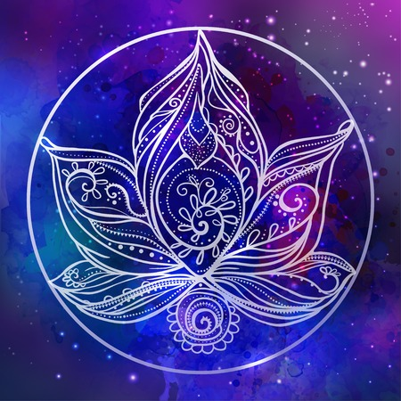 lotus petal: Ornamental Boho Style lotus Flower. Geometric element hand drawn.Cards for the design and illustrations, postcards banners, prints, clothing, wallpaper. Design Stroud yoga. medallion india, arabic, om