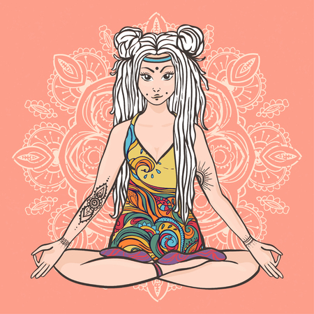 60s: Hippie girl with dreadlocks Hippie style Yoga poses Love and Music with hand-written fonts, hand-drawn doodle background and textures. Hippy color vector illustration. Retro 1960s, 60s, 70s