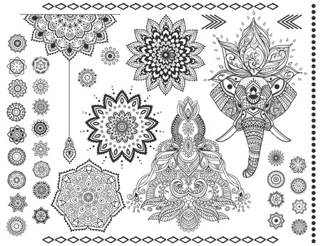 mandala: Mandala set and other elements. Vector. Mandala tattoo. Perfect cards of design, birthday and other holiday, kaleidoscope, medallion, yoga, india, Arabic. circular pattern sketch for tattoo Illustration