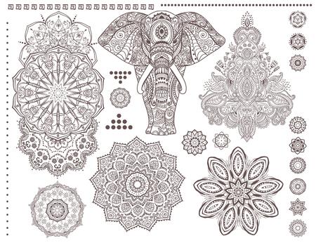Mandala set and other elements. Vector. Mandala tattoo. Ornament invitation card with mandala. Vintage decorative elements. Tribal, Boho, Bohemian style. Elements for flash tattoo