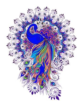 Groet Mooie kaart met Pauw. Frame van de pauw in vector. Gewone of Indiase Green Peacock. Pauwenveer kleur. Naadloze hand getekende kaart met Pauw. Stock Illustratie