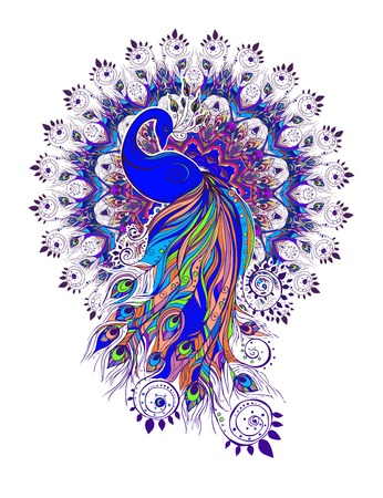 Greeting Beautiful card with peacock. Frame of peacock made in vector. Ordinary or Indian Green Peacock. Peacock feather color. Seamless hand drawn map with peacock.