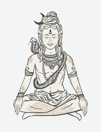 hinduism: Ornamento tarjeta hermosa con Dios Shiva. Ilustraci�n de feliz Maha Shivaratri. Mahashivaratri festival. El hinduismo en la India. Mediaci�n, adorno, ilustraci�n Vectores